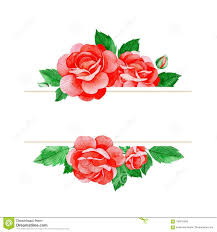 lovely watercolor frame border red roses flowers buds and
