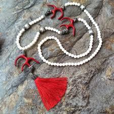 5pcs red c pave rhinestone pearl