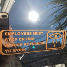 Employees Must Stop Crying Vinyl Mirror Decal In Gold Etsy