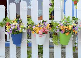 Hanging Flower Pots With Fence Stock Photo Download Image Now Istock