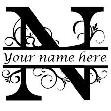 Letter N Floral Initial Monogram Family Name Vinyl Decal Etsy