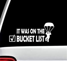 Amazon Com Skydiving Bucket List Parachute Decal Sticker For Car Window 8 0 Inch Bg 331 Handmade