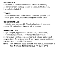 special effects makeup kit list