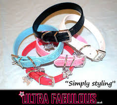 ultra rhinestone faux leather dog collars