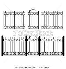 Fence Gate Vector Vector Illustration Wrought Iron Modular Railing And Fence Vintage Gate With Swirls Black Forged Lattice Canstock