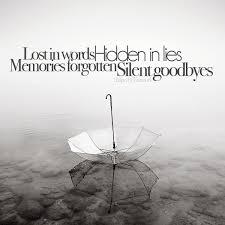 lost in words hidden in lies memories forgotten silent goodbyes