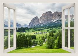 Beautiful Mountains View Wall Decal 3d Window Wall Decal Etsy