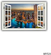 Amazon Com Mysticky 3d Cityscape Fake Window Frame Wall Decal Removable Vinyl Sticker Peel And Stick Art Decor For Bedroom Kitchen Kids Or Any Room Mys31 Large Kitchen Dining