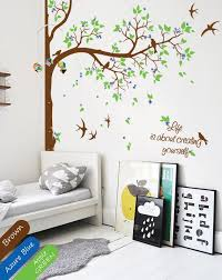 Corner Tree Wall Decal With Name Or Quote Beautiful Tree Wall Etsy