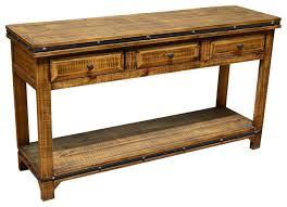 addison rustic pine wood sofa table