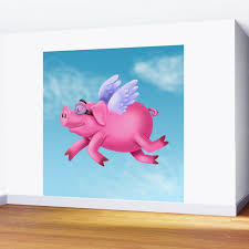 Flying Pig Wall Mural By Kfirwz Society6