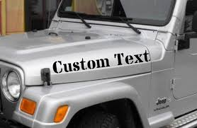 2 X Custom Text Decals Compatible With Jeep Wrangler Hood Etsy