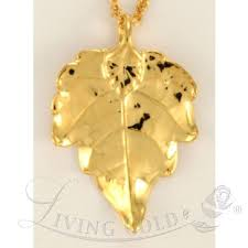 g leaf pendant necklace in 24k gold