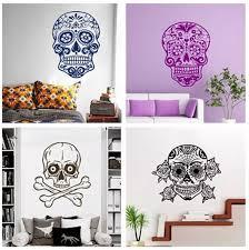 Sugar Skull Wall Decal Mexican Sugar Skull Dia De Los Muertos Bedroom Living Room Teen Boys Room Wall Decal Vinyl Art Mural W 26 Skull Wall Decals Boys Roomwall Decals Aliexpress