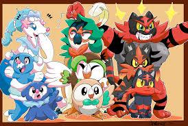 I drew a wallpaper of all the alola starters!^^ : pokemon