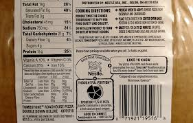 tombstone pizza nutrition label