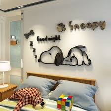 17 Off 2020 Cartoon Snoopy Puppy 3d Wall Stickers Children S Room Kindergarten Living Room Bedroom Bedside Wall Decoration Stickers In Black Oversized Dresslily