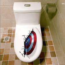 Big Sale 2b1c 3d Vivid Captain America Shield Through Decorative Wall Stickers For Toilet Decor The Avengers Wall Decals Art Pvc Mural Posters Oa Naraboras Se