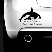 Amazon Com Car Window Decal Bumper Truck Orca Killer Whale With Baby On Board Calf Vinyl Decal Sticker Car Window Wall Cute Automotive