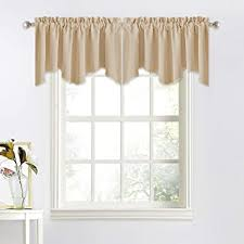 Amazon Com Nicetown Thermal Room Darkening Valance Short Curtain 52 Inches By 18 Inches Scalloped Valance For Living Room Kids Room Dorm Nursery Kitchen Bow Window Biscotti Beige Single Panel Home Kitchen