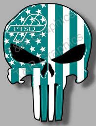 Ptsd Awareness Teal Punisher Skull Sticker Decal 6 Different Etsy