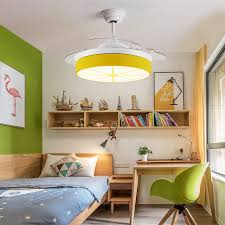 Lemon 1 Light Fan Light Acrylic And Metal Kids Room Ceiling Fan With Retractable Blades Takeluckhome Com