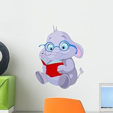 Cute Elephant Education Wall Decal By Wallmonkeys Peel And Stick Graphic 12 In H X 9 In W Wm171971 Baby B014lg8fvo