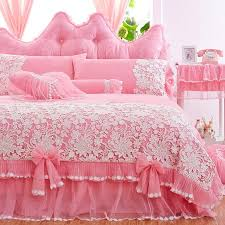 white lace ruffled bedding sets pink