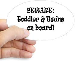 Amazon Com Cafepress Beware Toddler And Twins On Board Sticker Oval Oval Bumper Sticker Euro Oval Car Decal Home Kitchen