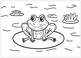 Tranh tô màu con ếch ngồi trên lá hoa súng « in hình này