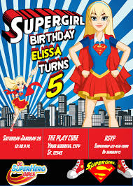 Supergirl Dc Superhero Girls Birthday Party Invitation Birthday