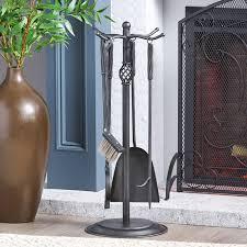 fort 5 piece iron fireplace tool set