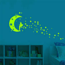 Little Fairy Moon Stars Ceiling Fluorescent Glow In The Dark Home Accessories Star Luminous Wall Stickers Kids Baby Room Home Decoration Wish