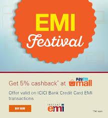icici bank get 5 cashback at paytm mall