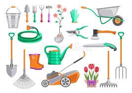 cartoon gardening tools stock