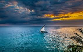 تحميل خلفيات المراكب الشراعية البحر غروب الشمس جزيرة استوائية