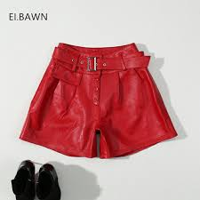 ei bawn real leather shorts women black