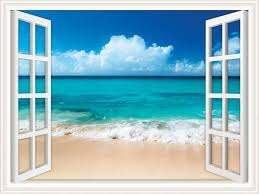 Amazon Com Walls 360 Peel Stick Wall Decal Window Views Ocean Beach With Fluffy Clouds In Sky 12 In X 9 In Window Views Kitchen Dining