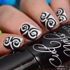 black white swirl nails
