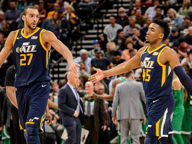 Image result for donovan mitchell rudy gobert""