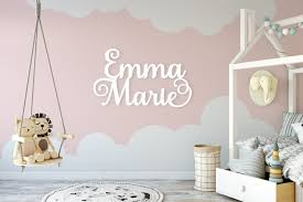 Custom Name Sign First Middle Name Sign Backdrop Sign Etsy Monogram Wall Decals Nursery Wall Decals Name Wall Decals