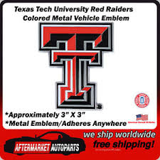 Texas Tech Red Raiders Colored Metal Car Auto Emblem Decal Top Quality 842281122565 Ebay