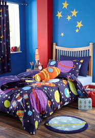 Kid Bedroom Incredible Boy Bedroom Decorating Design Ideas With Star Patterned Blue Curtains For Bo Space Themed Bedroom Space Themed Room Outer Space Bedding