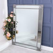 silver framed wall mirror wall floor