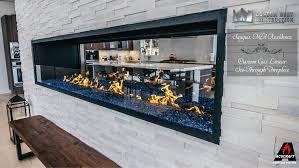custom gas linear fireplace a