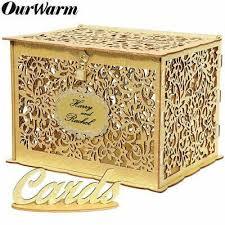 diy gold glitter wedding card box with