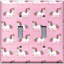 Rainbow Unicorns On Light Pink Light Switch Covers Outlet Covers