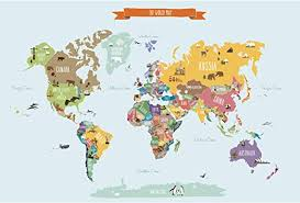 Amazon Com Simple Shapes Countries Of The World Map Poster Wall Sticker Small 35 W X 22 5 H Home Kitchen