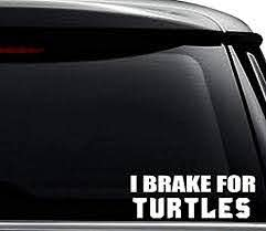 Amazon Com I Brake For Turtles Decal Sticker For Use On Laptop Helmet Car Truck Motorcycle Windows Bumper Wall And Decor Size 20 Inch 50 Cm Wide Color Gloss Black Arts