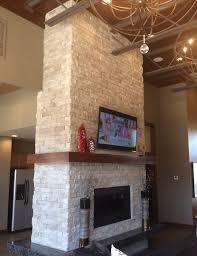 two tone stonework fireplace shelton